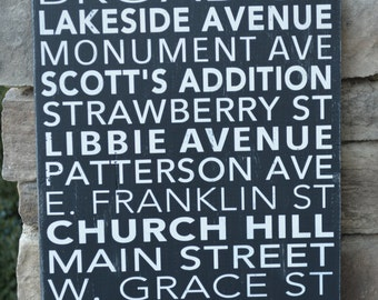 RVA, Richmond Virginia, Northern Neck, Mechanicsville, Any City subway art sign--completely custom--pick words and colors!