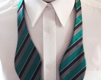 Mens Bowtie Teal Green With Silver And Gray Stripes Self Tie Bow Tie