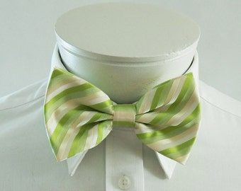 Mens  Bowtie Lime Greens Cream And White Stripe Pre Tied Bow Tie