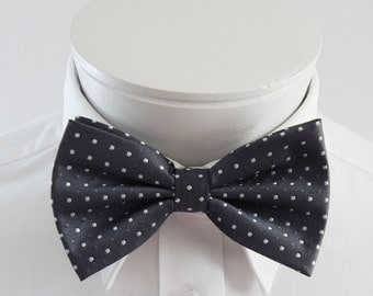 Mens Bowtie Puter Gray With Silver Dots Pre Tied Bow Tie