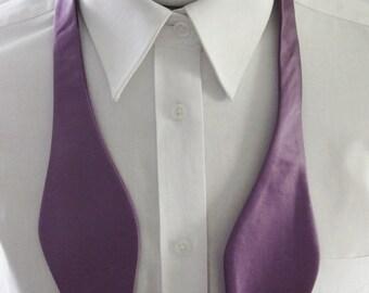 Mens Bow Tie Lavender Solid Self Tie Bow Tie