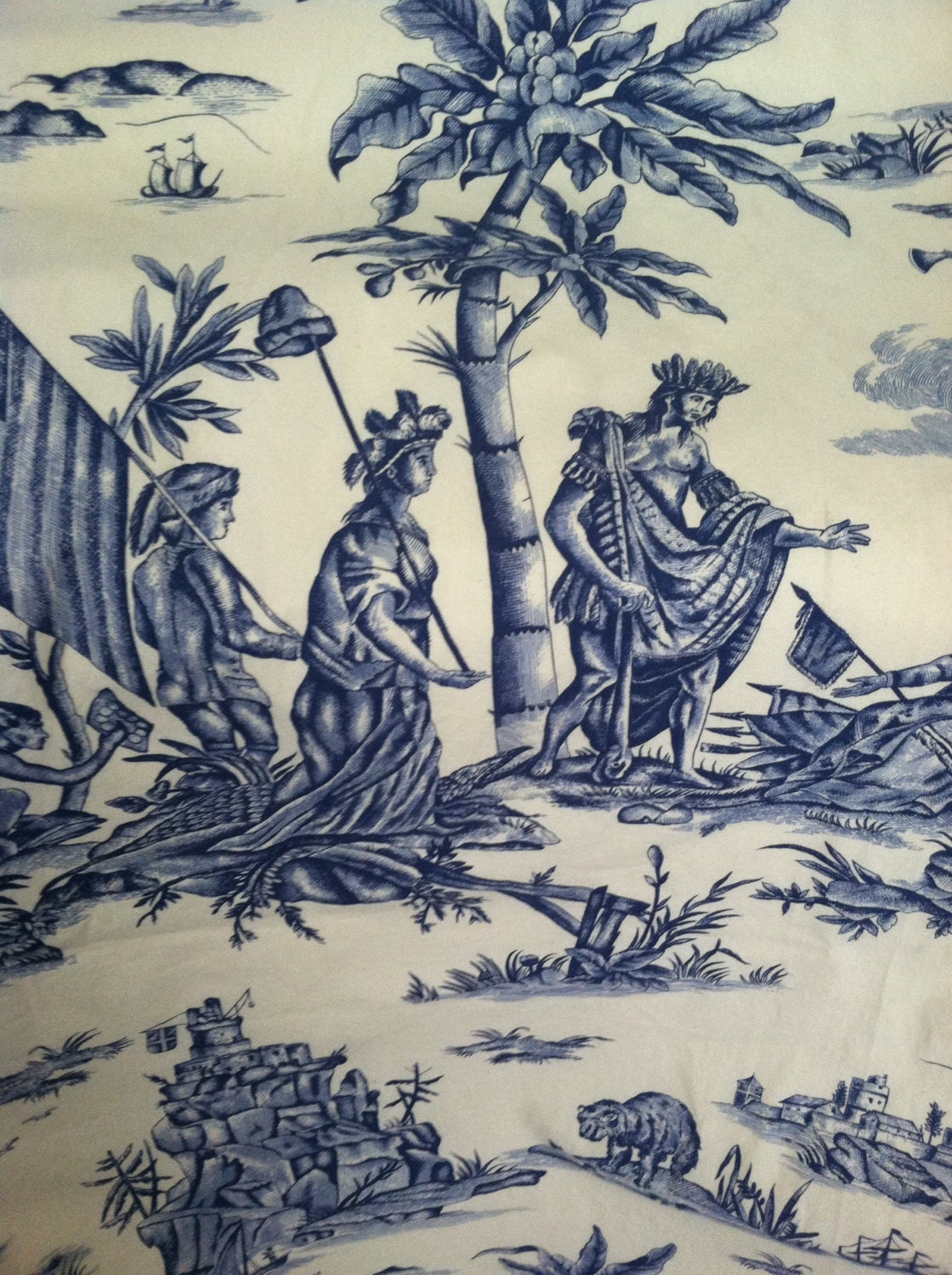 French toile de jouy fabric yardage blue lafayette toile for French toile fabric
