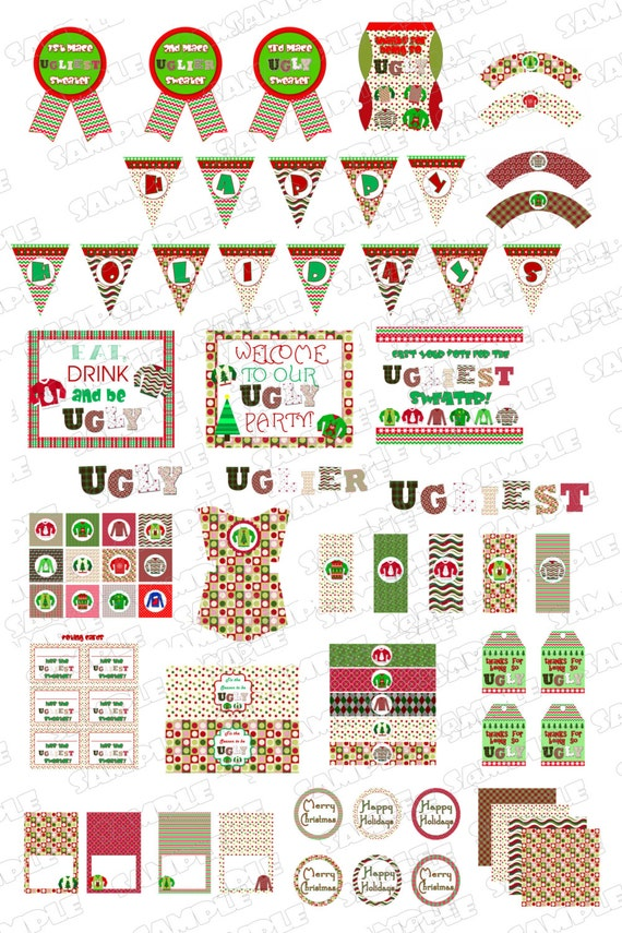 Ugly Christmas Sweater Party Supplies Printable Party Huge Set
