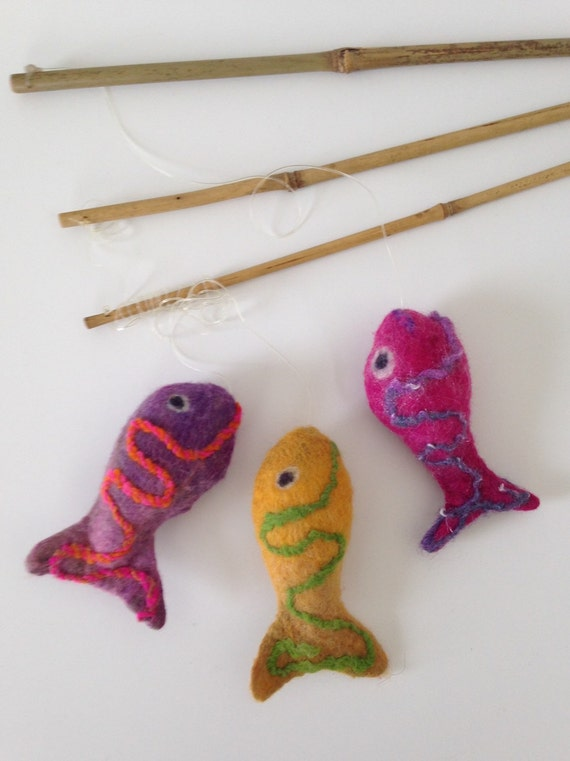 Fish on a pole felt cat toy with catnip and by for Cat toy fishing pole