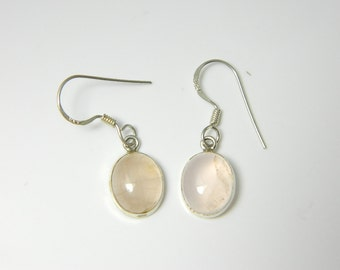 Vintage Sterling Silver Moonstone Clear, Oval  Earrings 2.5g U4031