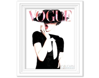 Vogue Art Print German Vogue Fashion Art Print Vogue Cover Art Illustration Painting Wall Art Home Decor Giclee Print Drawing Gift (No.148)