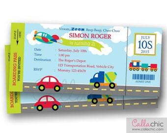 Transportation Ticket Invitation PRINTABLE - Boarding Pass Birthday Invite for Boy/Girl - Car Train Plane