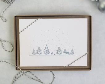 Winter Forest Letterpress Cards: Pack Of 5