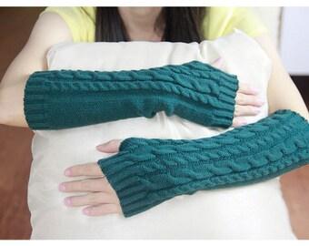 Green Knit Fingerless Gloves Knit Arm Warmers Fingerless Mittens Knit Wrist  Knit Hand Warmers Gloves Knit Gloves zjb0703 6002