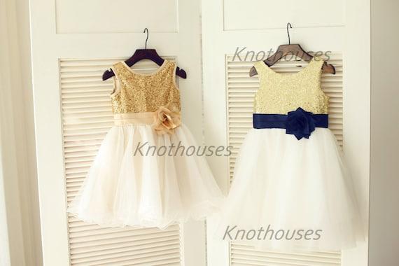 navy blue gold flower girl dresses