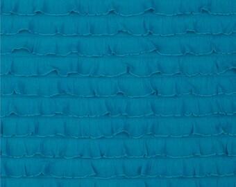 "1"" Turquoise Cascading Ruffle Fabric  by 1 yard"