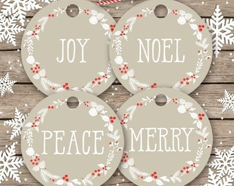 Christmas tags PRINTABLE gift tags, cupcake toppers, Christmas DIY tags, printable holiday tags, 2 inch circle tag, Joy, Merry, Peace, Noel