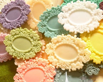 Wholesale-50pcs Mixed Color  Victorian Resin Oval  Frame Cameo Setting Flatback Cabochon 18mmX25mm