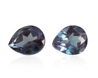 Alexandrite Color Change Synthetic Lab Created Loose Gemstones Set of 2 Pear Cut 1A Quality 5x4mm TGW 0.65 cts.