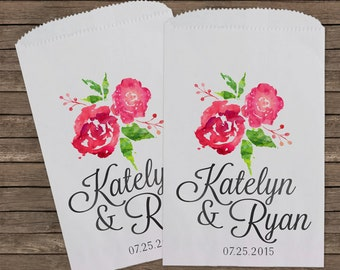 Wedding Favors, Watercolor Wedding Favor Bags, Candy Bar Buffet Bags, Rustic Wedding, Popcorn Bags, Custom Wedding Favors, Candy Bags, 121