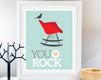 Chair art You rock poster Eames chair Print Midcentury wall art Retro print Nursery art Bird print Inspirational poster Giclee Modern poster