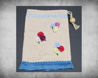 """Artisan Bag - 6x8"""" Rose Clusters Artisan canvas drawstring bag. Perfect for games, jewelry, makeup, and other treasures!  ART-024"""