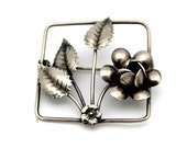 Vintage Sterling Silver Handcrafted Rose with 3 Leaves Brooch / Pin