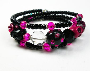 Hot Pink Beaded Wrap Bracelet from Memory Wire  - Unique Skull Jewelry Gifts for Girls or Teens