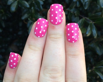 Pink nails, pink fake nails, polka dot nails, pink polka dots, fake nails