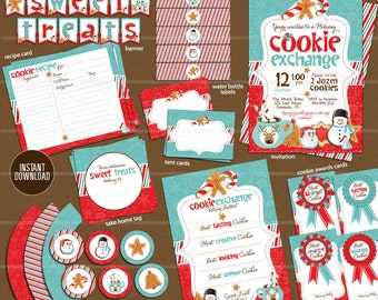Christmas Cookie Swap Invitation Printable Bundle Cookie Recipe Card // Holiday Cookie Exchange Party // Recipe Card Blue Christmas Red