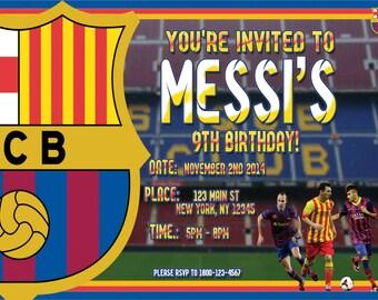 FC Barcelona Birthday Party Invite CUSTOM - DIGITAL File