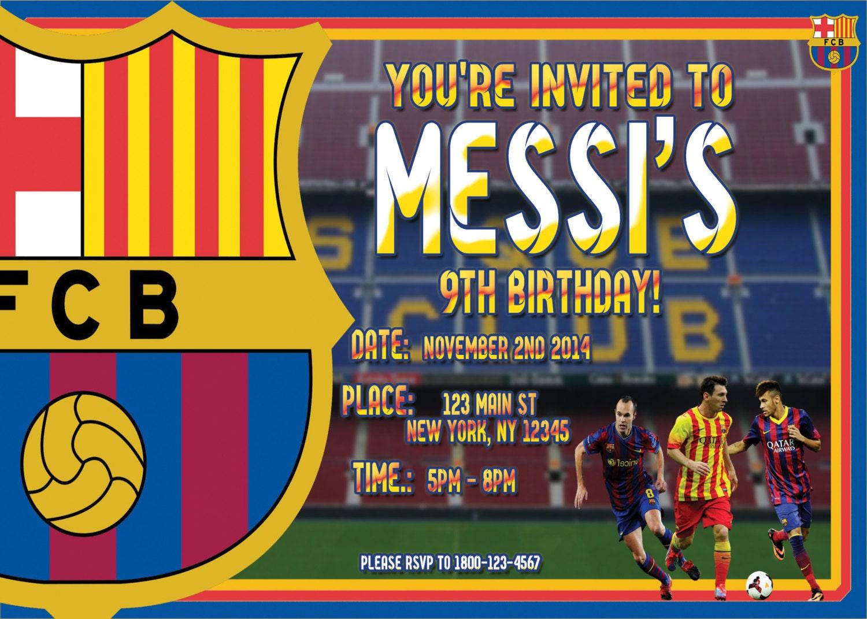 FC Barcelona Birthday Party Invite CUSTOM DIGITAL File