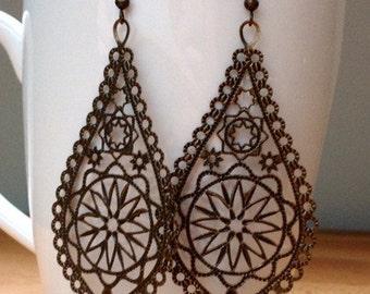 Antique brass lace filigree earrings