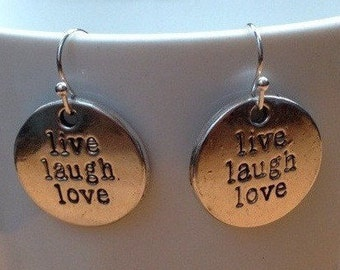 "Silver ""live laugh love"" inspirational coin pendant earrings"