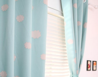 two grommet top blue sky clouds curtains baby nursery curtain or toddler nap curtain bedroom