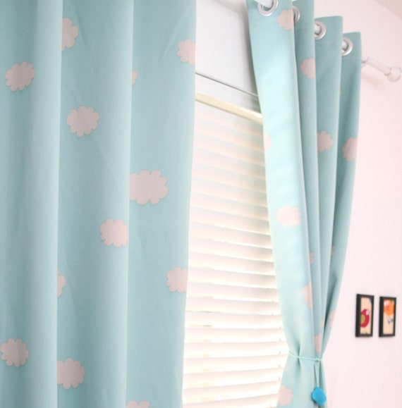 two grommet top blue sky clouds curtains baby nursery curtain