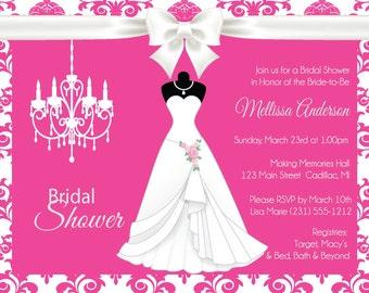 Elegant Wedding Shower Invitation - Pink Damask - DIY Printable