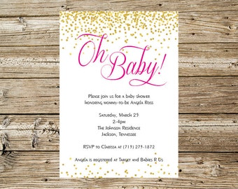 Gold Glitter Confetti with Hot Pink Writing Baby Shower Invitation