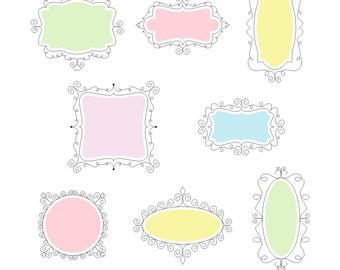 80% OFF SALE 8 Piece Pastel Doodle Frames, Digital Doodle Frames, Doodle Clip Art, Doodle Clipart, Doodle Labels