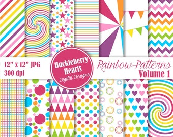 80% OFF SALE Rainbow Patterns Digital Scrapbook Paper Volume 1, Bright, Colorful, Backgrounds