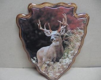Deer in the woods arrowhead plaque.