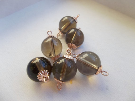Handmade Rose Gold Connectors with 12mm Smoky Quartz and Rose Gold Bead Caps