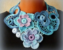 sky-blue collar, detachable blue collar,white,blue collar, knitted necklace,knitted necklace,Irish lace collar crocheted flowers