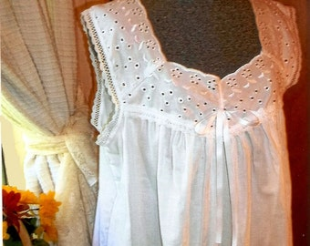 Custom made Victorian style cotton nightgown with eyelet bodice and cotton lace