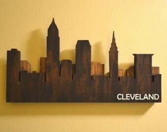 Layered Cleveland Skyline Wall Art