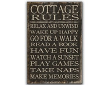Personalize for free! Cottage Rules sign cottage signs cottage wall art subway signs Lake signs cabin signs Cottage decor Family rules signs