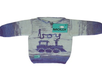 """Blue organic cotton sweater hand made for 9-12 months old baby, size 80, """"sleeping steam engine"""""""