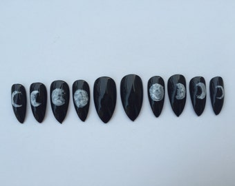 Moon Phase Stiletto Nails, Set of 10 Hand painted phases of the moon nails