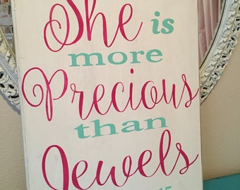 11x13 She is More Precious Than Jewels Distressed wall hanging