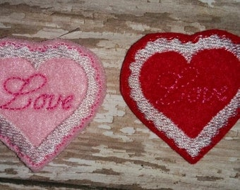 Set of 4 Lacy Love Heart Valentines Valentine Day Feltie Felt Embellishment Bow! Birthday Party
