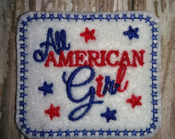 Set of 4 All American Girl Patriotic 4th of July Memorial Veterans Day Patriot Red White Blue Feltie Felt Embellishment Bow!