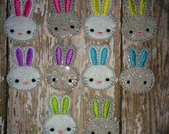Set of 4 Girly Bunny Heads Faces Rabbit Easter Feltie Felt Embellishment Bow! Birthday Party Easter Bunny Bunnies Planner Clip Felties