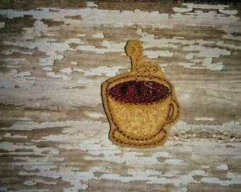 Set of 4 Coffee Cup Felties Steamy Cups of Coffee Mugs Mug Feltie Embellishment Bow! Applique Embroidery Birthday Party Planner Clip Clips