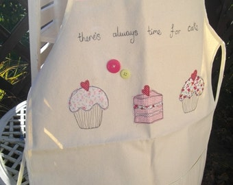 Apron, Machine embroidered cupcakes, Adult Apron,