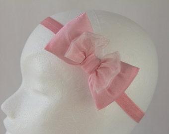 Pink Bow Headband, Princess Headband, Birthday Headband, Baby Bow Headband, Fairy Headband for Newborn Baby, Toddler & Children